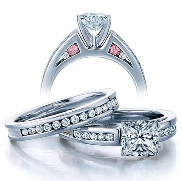 carat princess cut diamond vintage wedding ring set in white gold