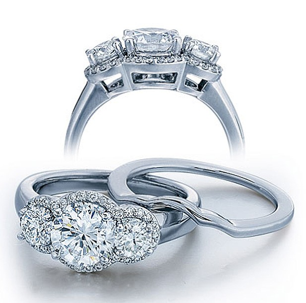 1 Carat Three Stone Trilogy Round Diamond Wedding Ring Set In White Gold.