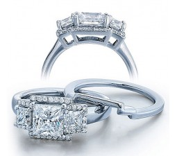 Half Carat Princess Three Stone Wedding Ring Set for Her in White Gold