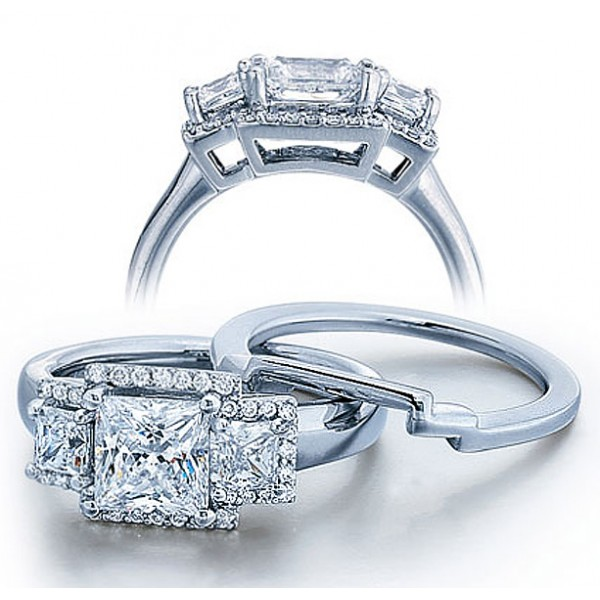 Half Carat Princess Three Stone Wedding Ring Set for Her in White Gold