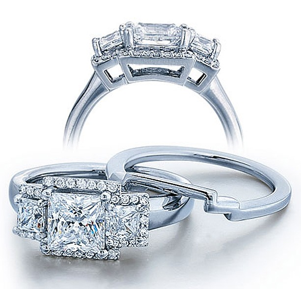 Half Carat Princess Three Stone Wedding Ring Set For Her In White Gold.