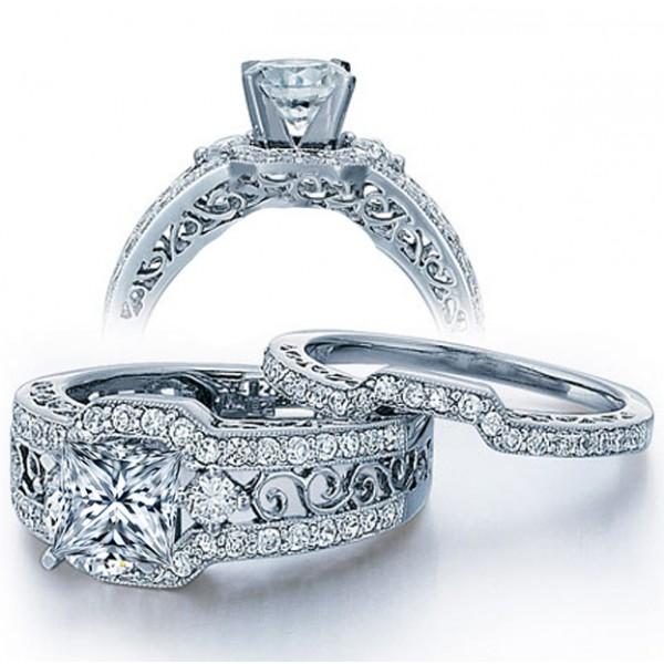 GIA Certified 2 Carat Princess cut Diamond Vintage Wedding Ring Set in White Gold