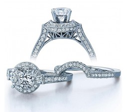 GIA Certified 2 Carat Princess cut Diamond Vintage Wedding Ring Set in White Gold