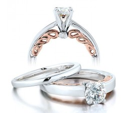 Half Carat Round Diamond Solitaire Wedding Ring Set in White Gold with Rose Gold overlay