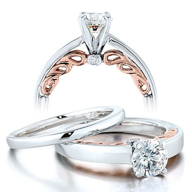 half carat round diamond solitaire wedding ring set in white gold with rose gold overlay - Rose Gold Wedding Ring Set