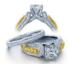 Huge 2 Carat Princess Designer Wedding Ring Set in White Gold for Women