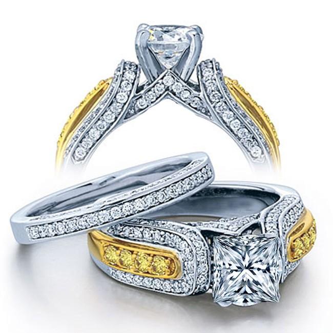huge 2 carat princess designer wedding ring set in white gold for