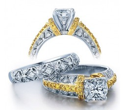 Huge 2 Carat Princess Designer Wedding Ring Set in White Gold for Women