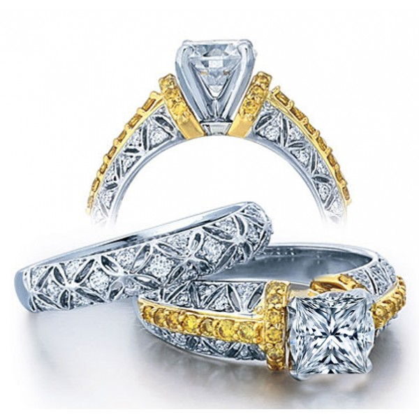 Huge 2 Carat Princess Designer Wedding Ring Set in White Gold for
