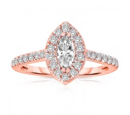 Half Carat Marquise cut Halo Diamond Engagement Ring in Rose Gold