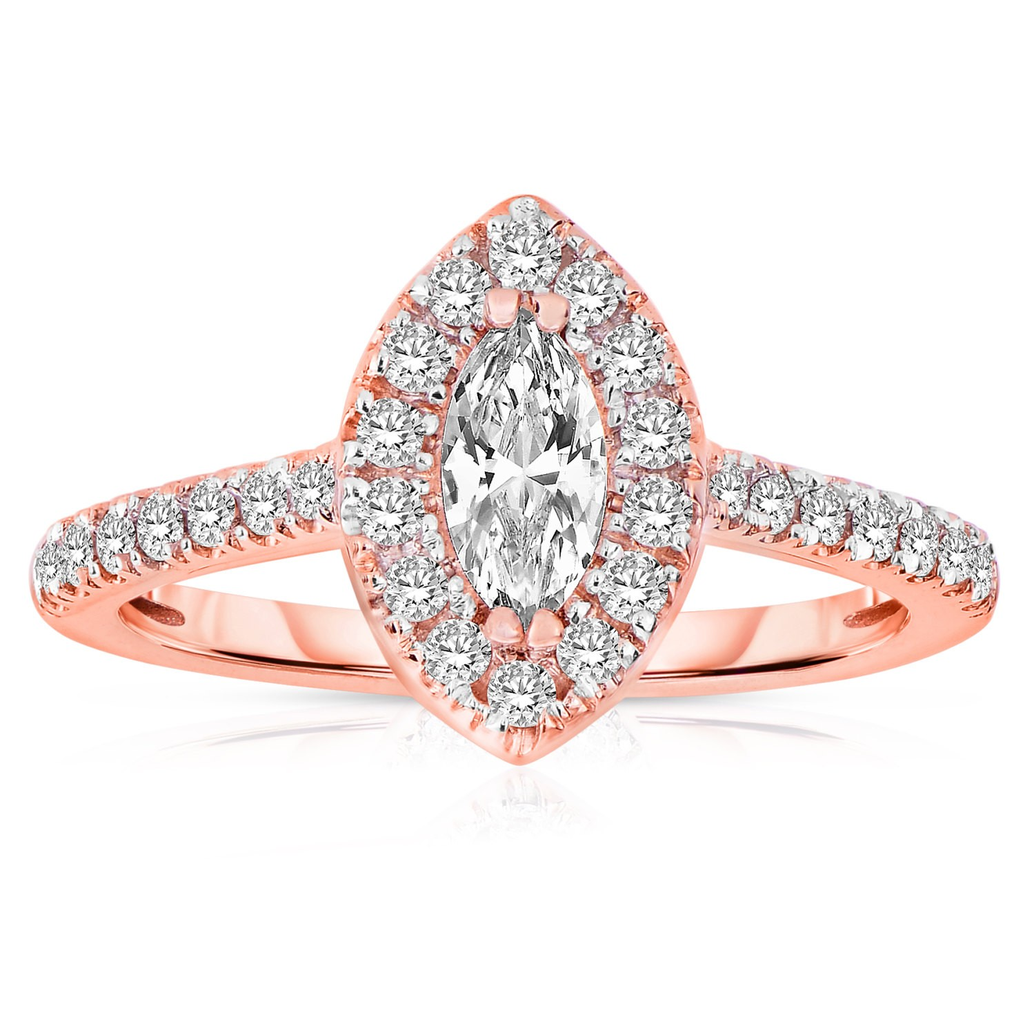 Half Carat Marquise cut Halo Diamond Engagement Ring in Rose Gold JeenJewels