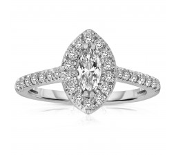 Half Carat Marquise cut Halo Diamond Engagement Ring in White Gold