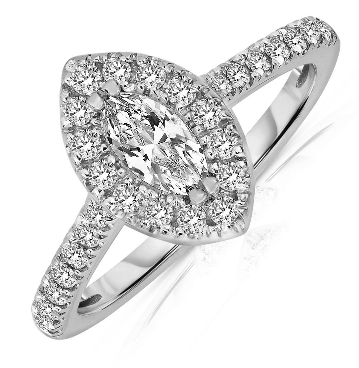 Half Carat Marquise Cut Halo Diamond Engagement Ring In