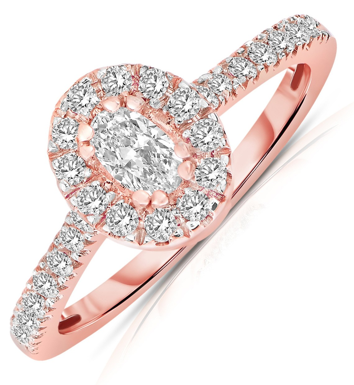 Half Carat Oval cut Halo Diamond Engagement Ring in Rose Gold JeenJewels