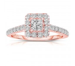 Half Carat Princess cut Halo Diamond Engagement Ring in Rose Gold