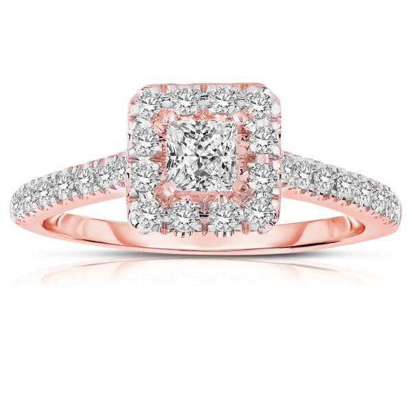 Half Carat Princess cut Halo Diamond Engagement Ring in Rose Gold