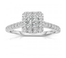 Half Carat Princess cut Halo Diamond Engagement Ring in White Gold