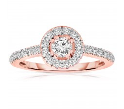 Half Carat Round cut Halo Diamond Engagement Ring in Rose Gold