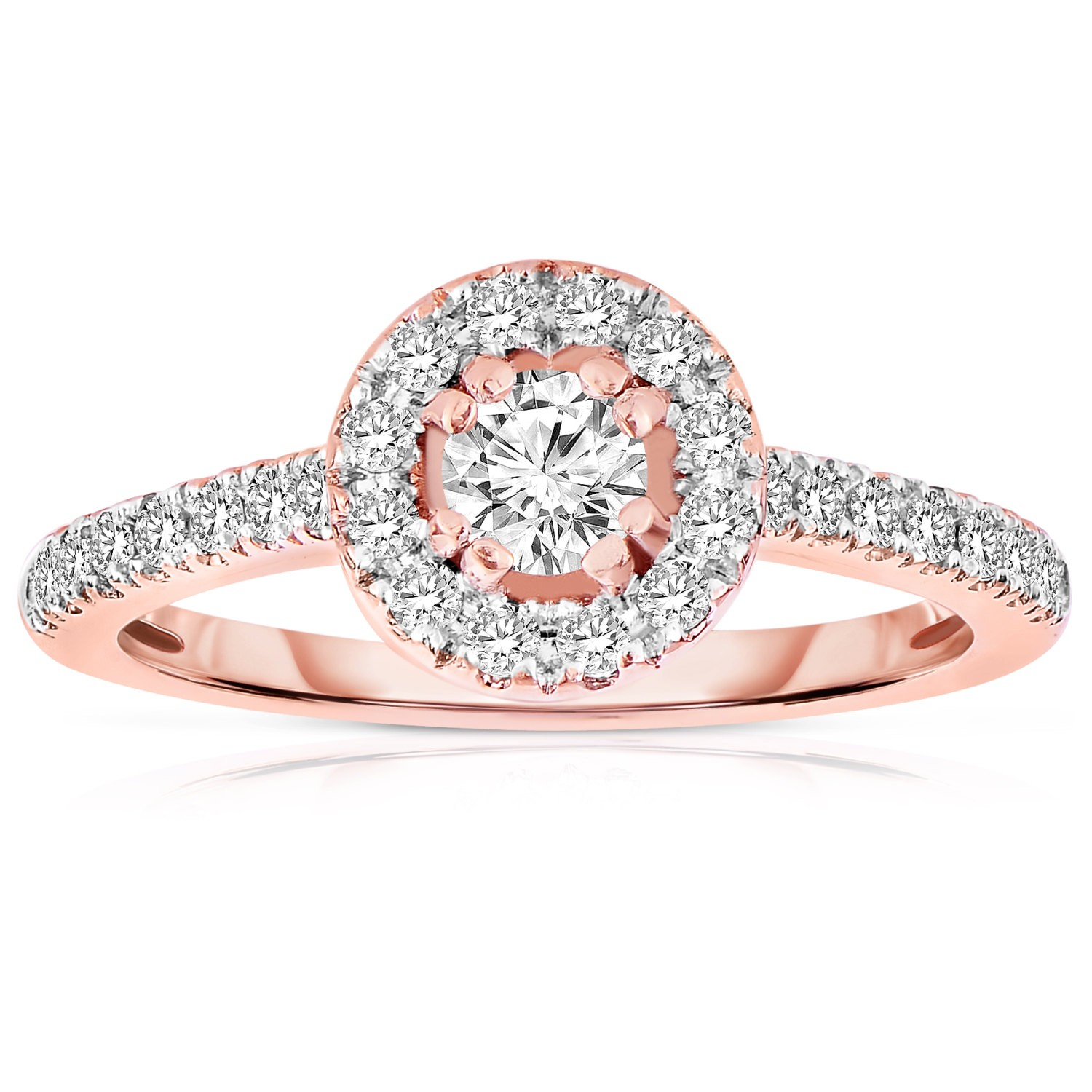 Gallery For Rose Gold Round Halo Engagement Ring