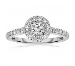 Half Carat Round cut Halo Diamond Engagement Ring in White Gold