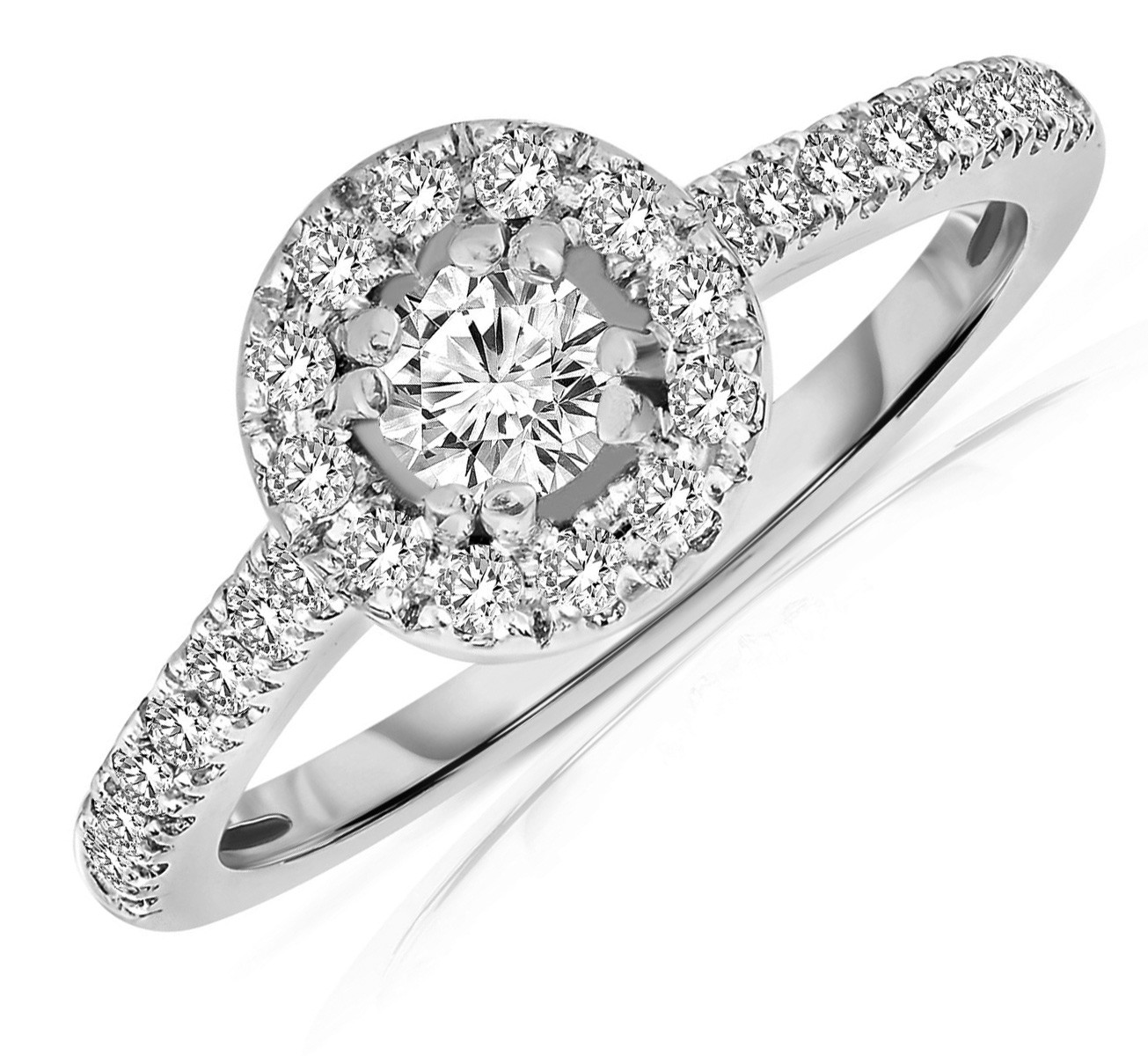 Half Carat Round cut Halo Diamond Engagement Ring in White Gold JeenJewels