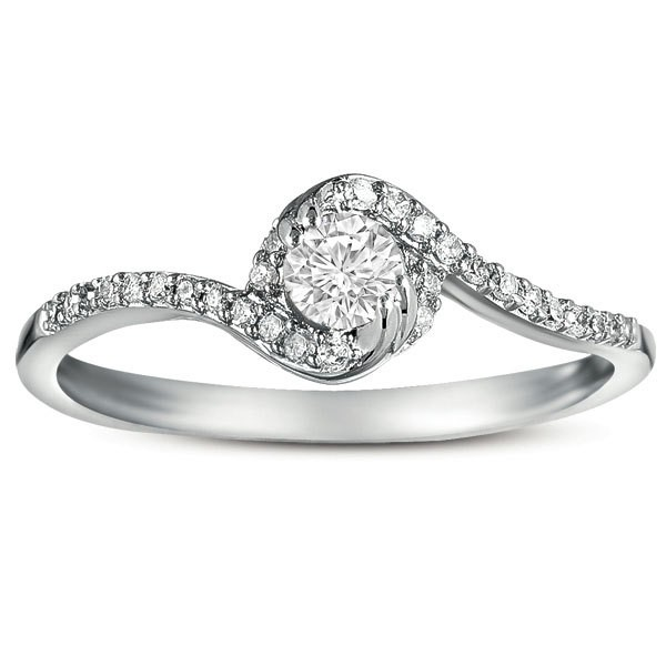 Half Carat Round Diamond Curved Engagement Ring In White Gold