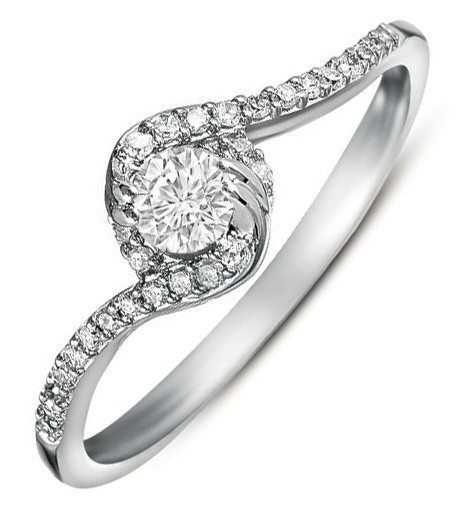 Half Carat Round Diamond Curved Engagement Ring In White