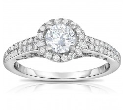 1 Carat Round Halo Two Row Diamond Engagement Ring for Her in White Gold
