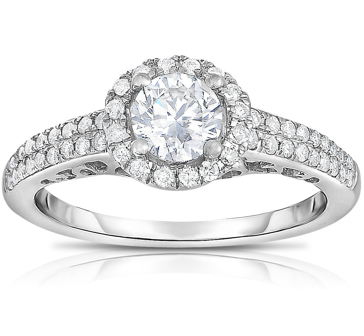 1 carat round halo two row diamond engagement ring for her. Black Bedroom Furniture Sets. Home Design Ideas