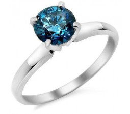 1 Carat Round cut Sapphire Solitaire Engagement Ring in White Gold