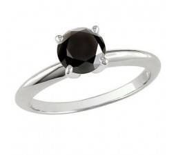 Perfect 1 Carat Black Diamond Solitaire Engagement Ring in White Gold