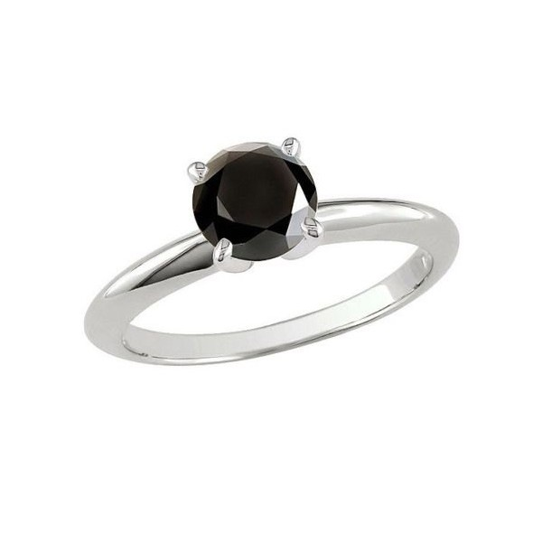 Perfect 1 Carat Black Diamond Solitaire Engagement Ring In White Gold Jeenjewels