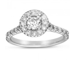 1 Carat Round Classic Halo Diamond Engagement Ring in White Gold