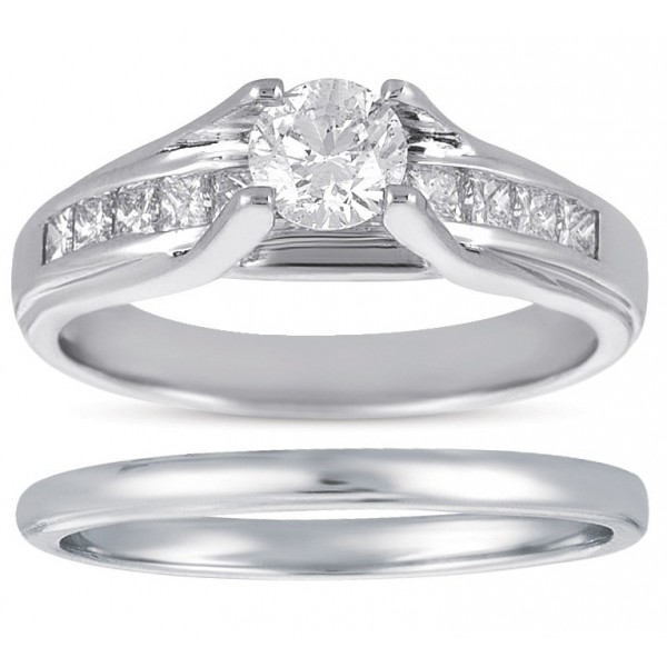 Bestselling 1 Carat Round and Princess Diamond Bridal Ring Set for Women in White Gold