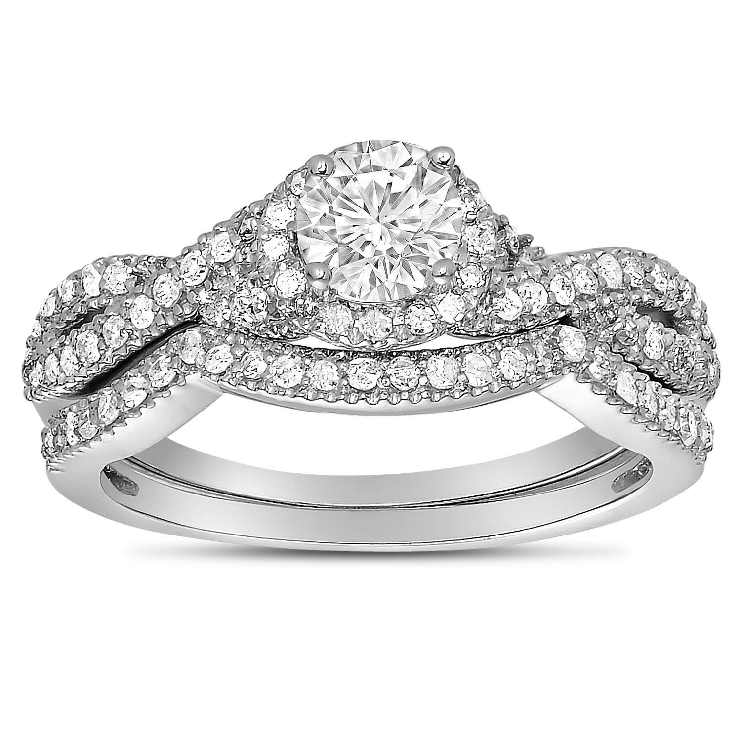 2 carat round diamond infinity wedding ring set in white gold for her - White Gold Wedding Rings For Her