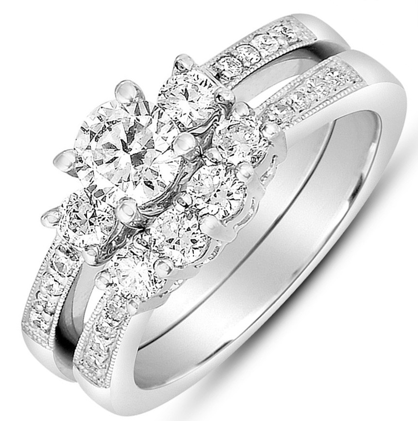 2 carat round diamond antique wedding ring set in white gold for her - White Gold Wedding Rings Sets