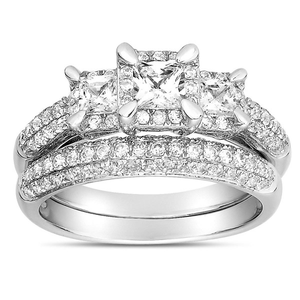 2 Carat Three Stone Trilogy Princess Diamond Wedding Ring Set in