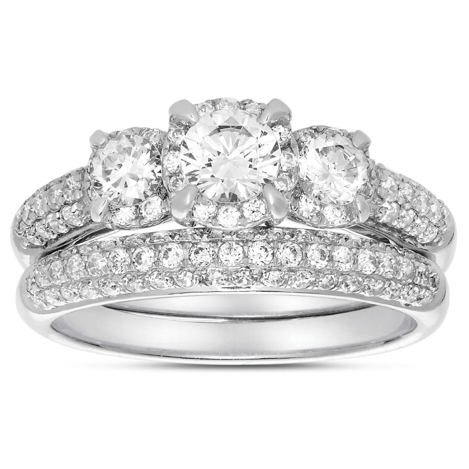 2 Carat Three Stone Trilogy Round Diamond Wedding Ring Set in White