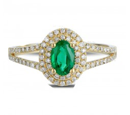 Antique double Halo 2 Carat Emerald and Diamond Engagement Ring in Yellow Gold