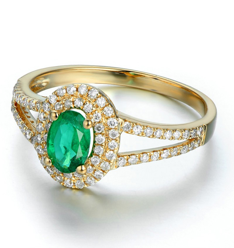 Antique Double Halo 2 Carat Emerald And Diamond Engagement