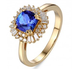 1 Carat cushion cut Sapphire and Diamond Engagement Ring in Yellow Gold