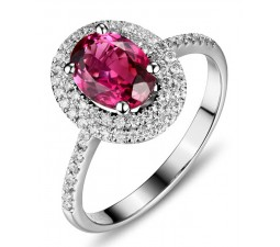 2.50 Carat Pink Sapphire and Diamond double Halo classic Engagement Ring for Women