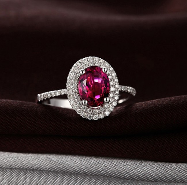 2 50 Carat Pink Sapphire And Diamond Double Halo Classic