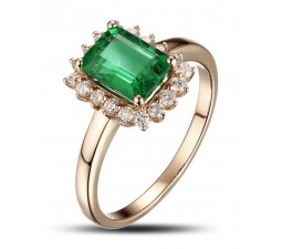 1.25 Carat Emerald and Diamond Engagement Ring in Yellow Gold