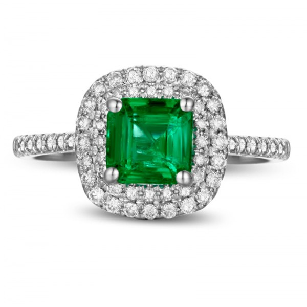 2 Carat princess cut Emerald and Diamond Double Halo Engagement Ring in White Gold