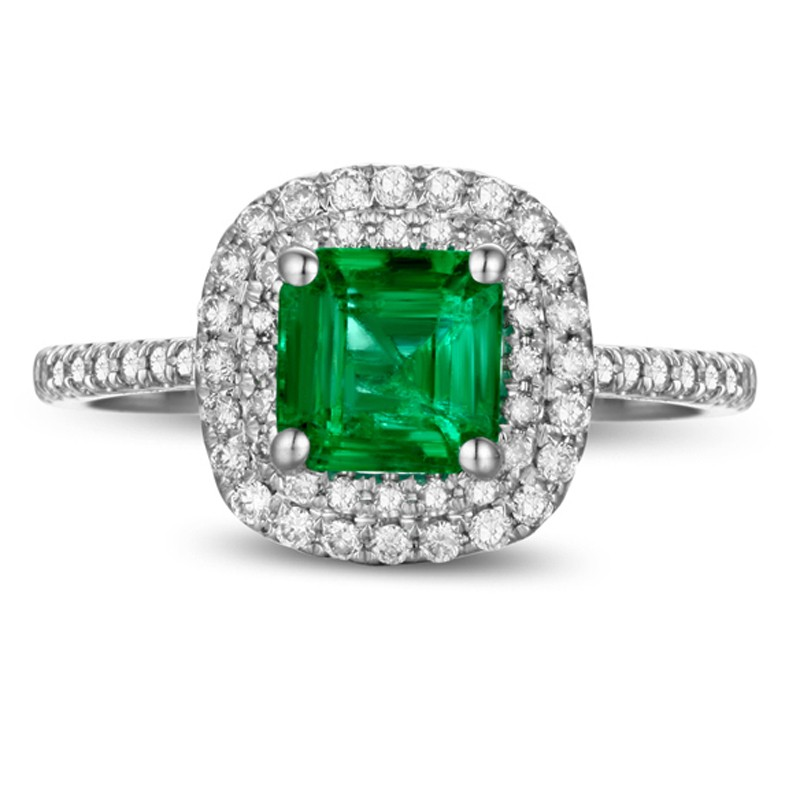 2 Carat princess cut Emerald and Diamond Double Halo Engagement Ring in White
