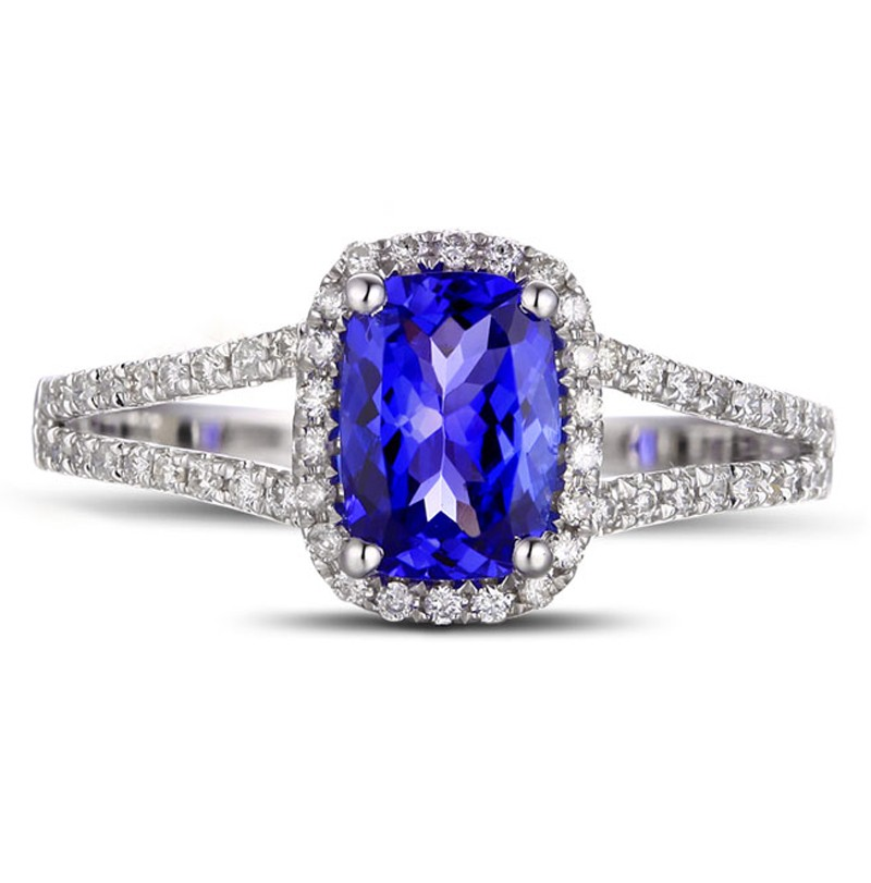 blue sapphire color c cut loose index jewelry ring beautiful natural cushion