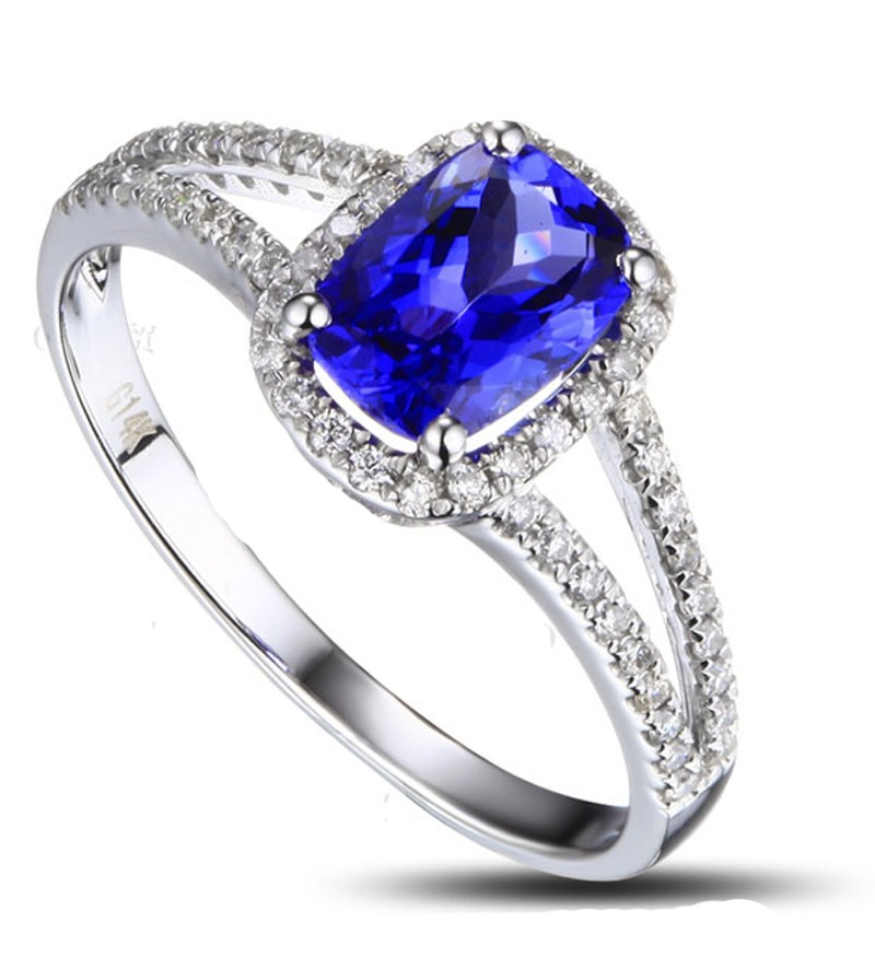 2 Carat cushion cut Sapphire and Diamond Halo Engagement Ring in White Gold