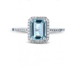 Designer 2.50 Carat Topaz and Diamond Engagement Ring in Halo Setting