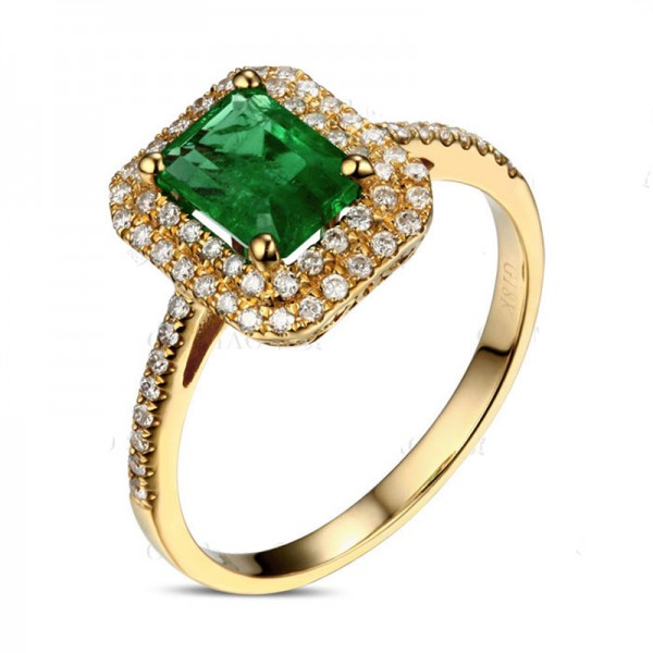 Designer 2 Carat Emerald and Diamond double Halo Engagement Ring in Yellow Gold